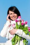 клетчатые розовые говоря женщины тюльпанов Стоковое Изображение RF