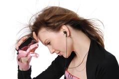 клетчатый телефон девушки стоковое изображение rf