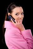 клетчатый телефон девушки Стоковые Изображения