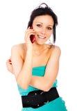 клетчатый телефон портрета девушки Стоковые Изображения