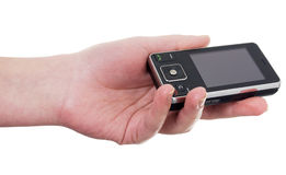 клетчатый телефон руки Стоковая Фотография