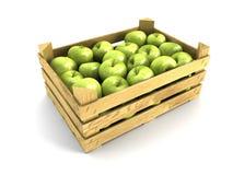 клеть яблок вполне деревянная Стоковые Изображения