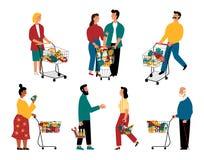 Клиенты супермаркета, персонажи из мультфильма Люди и женщины с корзинами на гастрономе r бесплатная иллюстрация