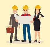 Клиент и подрядчик инженера обсуждают проект Иллюстрация вектора