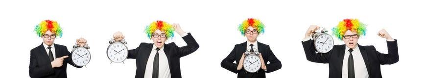 Клоун бизнесмена в смешной концепции изолированный на белизне стоковые изображения rf
