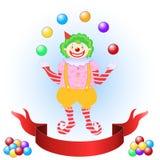 Клоун жонглируя цветастыми шариками иллюстрация вектора