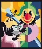 Клоун и кот в цирке Иллюстрация вектора