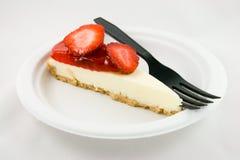 клубника вилки cheesecake Стоковые Изображения RF
