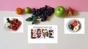 Клубника еда m Eco vegan натюрморта концепции предпосылки мандарина Яблок стоковые фото