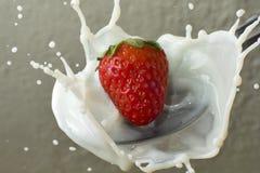 клубника молока Стоковые Фото