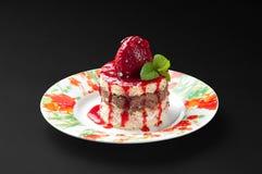 клубника размера торта укуса Стоковые Изображения RF