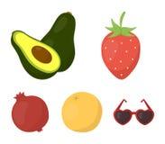 Клубника, ягода, авокадо, апельсин, гранатовое дерево Установленные плодоовощами значки собрания в шарже вводят запас в моду симв Стоковое фото RF