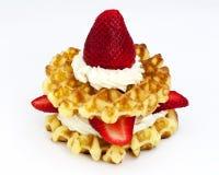 Клубники и cream waffles Стоковое Изображение