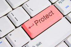 ключевая клавиатура защищает красный экстренныйый выпуск Стоковые Фотографии RF