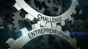 Ключевые слова бросают вызов, предпринимательство на механизме 2 Cogwheels Шестерни бесплатная иллюстрация