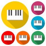 Ключи плоский черно-белый значок рояля или логотип, набор цвета с длинной тенью бесплатная иллюстрация