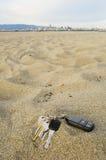 ключи пляжа потеряли Стоковые Изображения