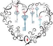 ключи keyhole сердца Стоковая Фотография