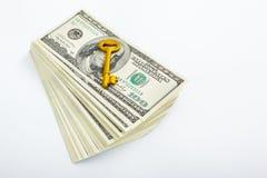 ключ доллара золотистый Стоковое Изображение