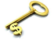 ключ доллара золотистый иллюстрация вектора