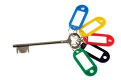 Ключ дома с несколькими ключевых колец на белом взгляде предпосылки большой предварительный просмотр стоковое изображение