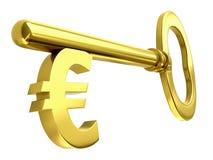 ключ евро золотистый иллюстрация вектора