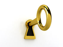 ключ золота над белизной Стоковые Фото