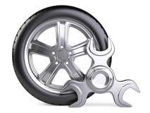 Ключ колеса и обтекателя втулки Значок обслуживания 3d автомобиля Стоковая Фотография