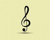 Ключ музыкального вектора дискантовый, значок, силуэт Объект изолирован на прозрачной светлой предпосылке иллюстрация вектора