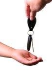 ключ руки автомобиля над детенышами Стоковая Фотография RF