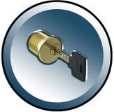 ключ цилиндра кнопки Стоковое фото RF