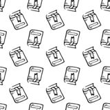 Книга безшовной руки картины вычерченная с doodle закладки Эскиз назад к школе, значку Элемент украшения Изолировано на белизне бесплатная иллюстрация