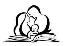 Книга заботы родителей для поднимать детей иллюстрация вектора