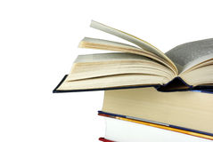 книга записывает изолировано кладущ раскрытую белизну Стоковое Изображение RF
