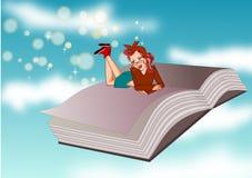 Книга и женщина иллюстрация штока