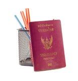 Книга и карандаш пасспорта Стоковое Фото