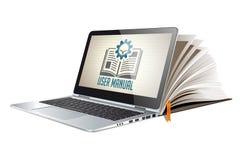 Книга как база знаний - руководство руководства пользователя Стоковые Изображения