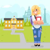 Книга моды милой девушки студента молодая современная идет к иллюстрации вектора дизайна курсов исследования университета плоской бесплатная иллюстрация