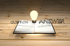 Книга может помочь к ответу вопроса, знанию важна, думает, ухищренная концепция, знание может зафиксировать проблему, перевод 3d Стоковое фото RF