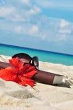 Книга на пляже Стоковые Фото