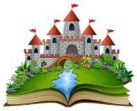 Книга рассказа с замком и река в зеленом парке иллюстрация вектора