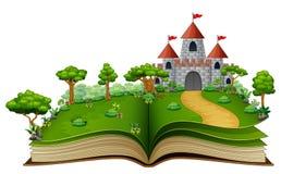 Книга рассказа с замком и река в зеленом парке иллюстрация штока