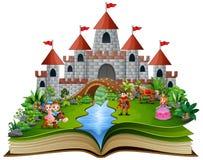 Книга рассказа с принцессами шаржа и принцами перед замком иллюстрация вектора