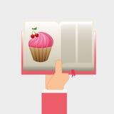 Книга рецепта пирожного Стоковые Фото