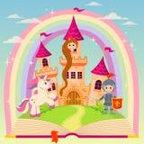 Книга сказки с замком, принцессой, рыцарем, единорогом и радугой бесплатная иллюстрация