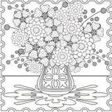 Книга страницы расцветки с декоративной безшовной черно-белой иллюстрацией картины Стоковые Фотографии RF