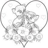 Книга страницы расцветки с декоративными орнаментальными элементами и котом k Стоковые Фотографии RF