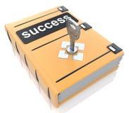Книга успеха с ключом замка Стоковое фото RF