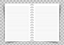 Книга чистого листа бумаги подключила с спиралью на прозрачной предпосылке иллюстрация штока