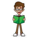 Книга чтения Гая болвана Стоковое Изображение